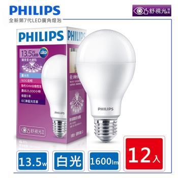 【買就送25W燈泡1顆】飛利浦 PHILIPS  LED廣角燈泡 13.5W 白光 1600流明 6500K 全電壓 - 12入組