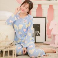 lingling日系 愛心兔子貼布牛奶絲二件式睡衣組(全尺碼)