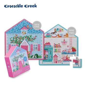 美國Crocodile Creek  童話小屋雙面學習拼圖24片-娃娃小屋