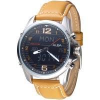 ALBA 飛鷹戰士多功能數位雙顯男錶-卡其色錶帶/黑(AZ4013X1)