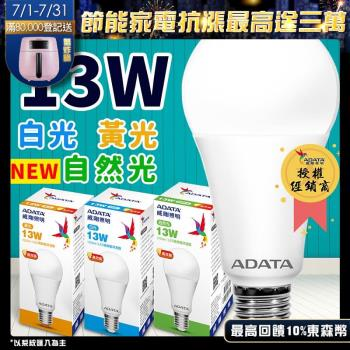 ADATA 威剛 13W CNS認證球泡 大廣角 高流明 LED燈泡 (1入白黃任選)