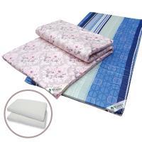 Victoria 雙人天然乳膠床墊-4公分(花色隨機出貨)+基本型天然乳膠枕(2顆)