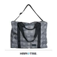 Traveler Station-HAPI+TAS 摺疊旅行袋(3WAY)-黑灰色蘇格蘭格紋