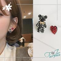 【伊飾童話】情人小熊*愛心925銀針耳環