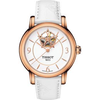 TISSOT Lady Heart 花朵鏤空機械女錶-白x玫瑰金框/35mm T0502073701704