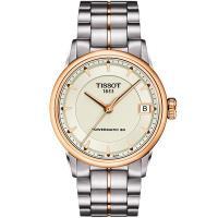 TISSOT T-Classic Luxury 機械女錶-象牙白x玫塊金框/33mm T0862072226101
