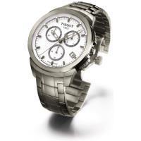 TISSOT Titanium 鈦金屬計時手錶-白/43mm T0694174403100