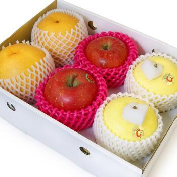 愛上水果 迎春納福明星蘋果禮盒(金星蘋果2入+蜜富士2入+韓國梨2入)