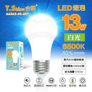 台軒 T.Shine 13W LED  6入/組  白/黃光