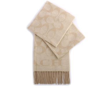 COACH CC LOGO羊毛圍巾(杏色) F36808 EFO