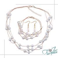 【伊飾童話】金繽珍珠*華麗水鑽項鍊耳環手鍊三件套組