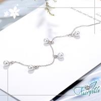【伊飾童話】珍珠流線*銅電鍍銀流蘇耳環/單入
