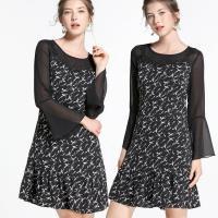 麗質達人 - 78200黑色雪紡印花洋裝
