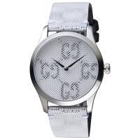 GUCCI古馳 G-TIMELESS 前衛漂浮LOGO手錶-銀/38mm YA1264058