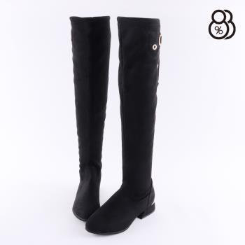 【88%】靴子-跟高3.5CM 後綁帶 側金屬英文字母D字造型 時尚休閒 膝上靴 過膝靴 長靴