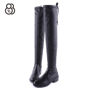 【88%】靴子-跟高4.5cm 合成皮革後綁帶 秋冬時尚 簡約純色高筒過膝靴