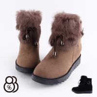 【88%】靴子-舒適保暖 人造短毛絨 蝴蝶結綁繩造型 日系百搭短靴 雪靴