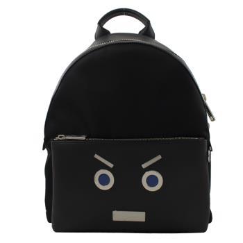 Fendi 7VZ012 MONSTER 可愛表情皮革拼接雙肩後背包.黑