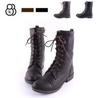 【88%】靴子-純色簡約率性 休閒綁帶中筒靴 個性穿搭必備款 秋冬時尚