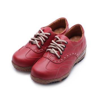 ZOBR 真皮綁帶氣墊休閒鞋 紅 女鞋 鞋全家福
