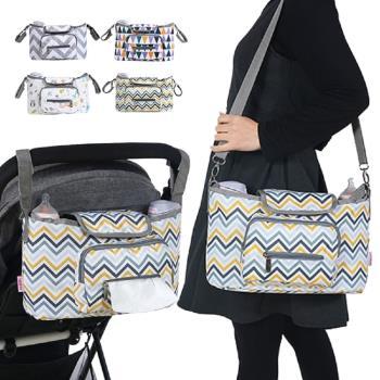 嬰兒推車掛袋條紋月型款收納袋置物袋單肩包