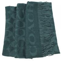 COACH 39703 經典C LOGO羊毛絲質披肩長圍巾.綠