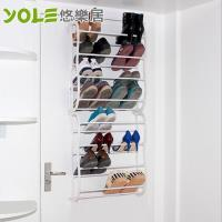 YOLE悠樂居-多功能收納八層門後鞋架-白色