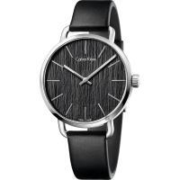 Calvin Klein CK Even 超然木質時尚女錶-黑/36mm K7B231C1