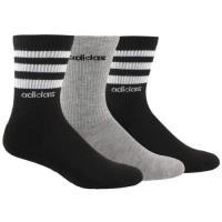 Adidas 2019女時尚灰黑色白條紋中統襪混搭3入組