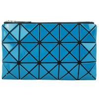ISSEY MIYAKE 三宅一生 BAOBAO 3x5幾何方格長型亮面零錢手拿包-孔雀綠