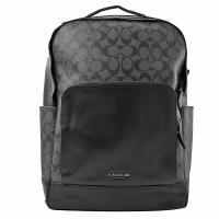COACH 38755 新款 經典C LOGO印花雙層雙肩後背包.黑灰