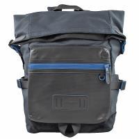COACH 36090 經典LOGO 帆布拼接撞色折疊後背包.黑/深藍