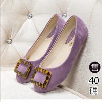 Alice 簡約方釦式素面平底鞋