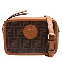 FENDI 經典品牌LOGO帆布包身牛皮飾邊拉鍊肩/斜背相機包(迷你-淺駝)