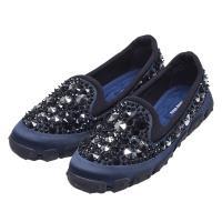 MIU MIU 施華洛世奇鉚釘造型水鑽鑲嵌便鞋(藍)