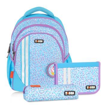 【TigerFamily】小精靈超輕量護脊書包-藍色條紋(含文具袋+鉛筆盒)