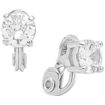 【Anne Klein】2019時尚典雅單顆水晶銀色夾式耳環(預購)