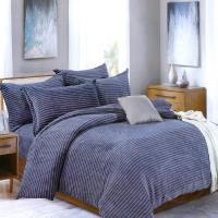 情定巴黎-時尚藍調 超柔保暖法蘭絨雙人兩用被毯全鋪棉厚包組