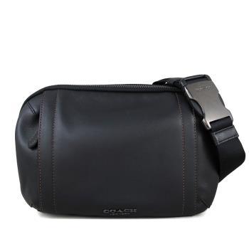 COACH 黑色全皮革雙層胸背包/腰包(男款)