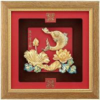 [開運陶源] 純金祥和金箔畫系列 鯉魚 連年有餘 (24 x24 cm)