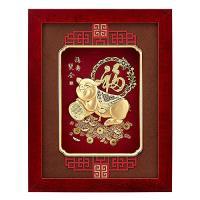 [開運陶源] 純金豬 金箔畫系列   福壽雙全 (26 x33 cm)