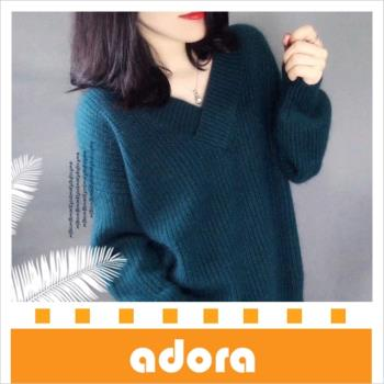 adora 韓版燈籠袖寬鬆加厚V領針織衫(3色)