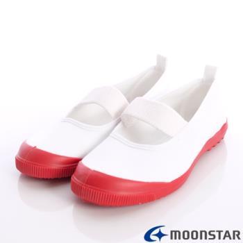 日本Moonstar抗菌防滑室內鞋(白/紅)中小童段-MS012-(15cm~19cm)-m