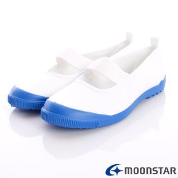 日本Moonstar抗菌防滑室內鞋(白/藍)中小童段-MS015-(15cm~19cm)-m
