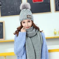 Acorn*橡果-韓系針織加絨保暖毛帽+圍巾1812(兩件組-灰色)