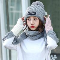 Acorn*橡果-韓系撞色加絨毛帽+露指手套圍巾1815(兩件組-灰色)