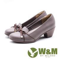 W&M圓頭蝴蝶結粗跟跟鞋 女鞋 - 藕 (另有黑)