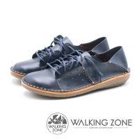 WALKING ZONE 皮革免綁帶兩穿休閒鞋 女鞋 - 藍 (另有紅)