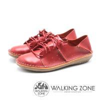 WALKING ZONE 皮革免綁帶兩穿休閒鞋 女鞋 - 紅 (另有藍)
