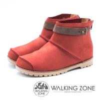 WALKING ZONE 皮革車縫拉鍊短靴 女鞋 - 紅 (另有藍、黃棕)